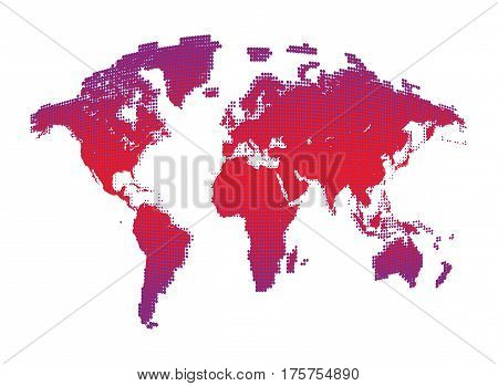 Isolated pink color worldmap of dots on white background, earth vector illustration.