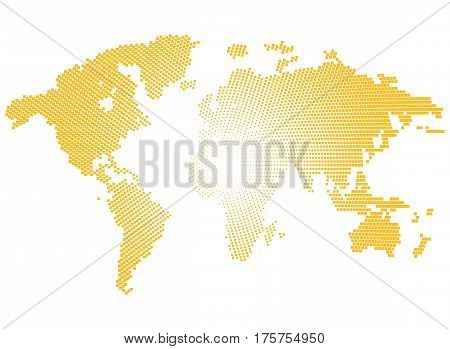 Isolated yellow color worldmap of dots on white background, earth vector illustration.