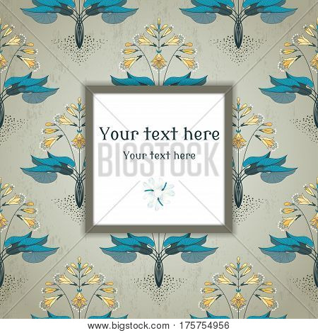 Vector Square Frame. Seamless Floral Pattern In Modern Style. The Plant Is Hosta On Vintage Plaster