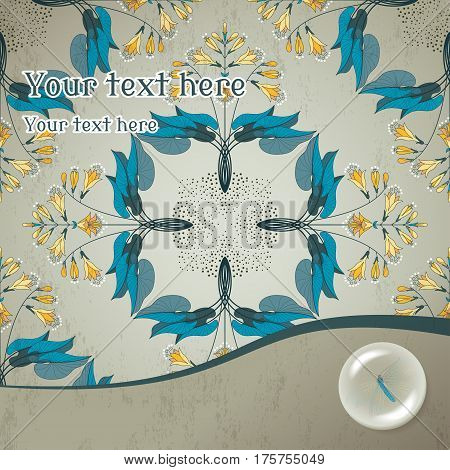 Vector Card. Seamless Floral Pattern In Modern Style. The Plant Is Hosta On Vintage Plaster Backgrou