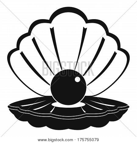 Pearl in a sea shell icon. Simple illustration of pearl in a sea shell vector icon for web