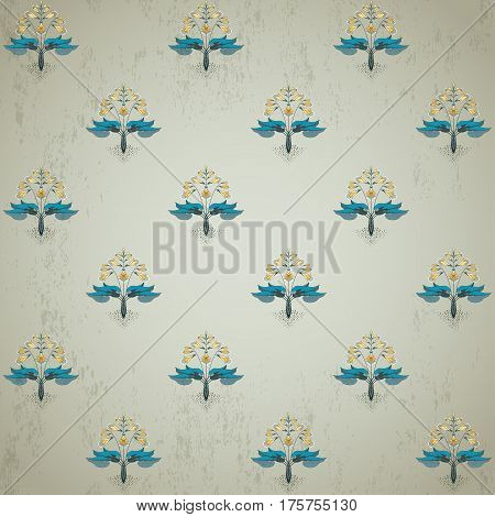 Seamless Vector Background. Floral Pattern In Modern Style. The Plant Is Hosta On Vintage Plaster Ba