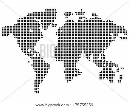 Isolated black color worldmap of dots on white background, earth vector illustration.