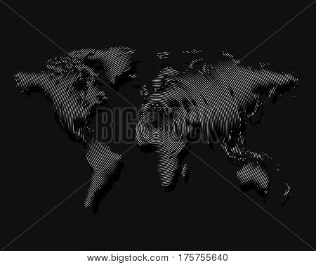 Isolated black color worldmap of lines background, earth vector illustration.