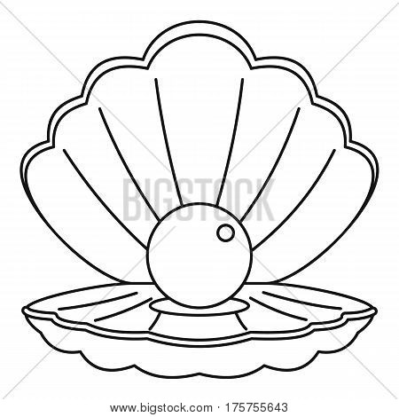 Sea shell with pearl icon. Outline illustration of sea shell with pearl vector icon for web