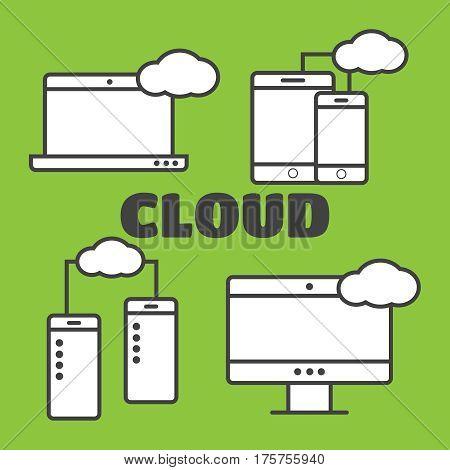 Cloud shapes set cloud icons for computing app. Cloud vector