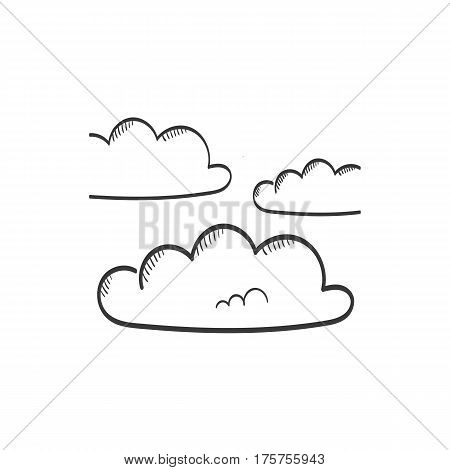 Overcast hand drawn weather icon - vector illustration
