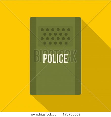 Green police riot shield icon. Flat illustration of green police riot shield vector icon for web isolated on yellow background