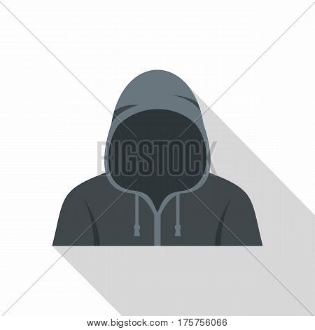 Figure in a hoodie icon. Flat illustration of figure in a hoodie vector icon for web isolated on white background