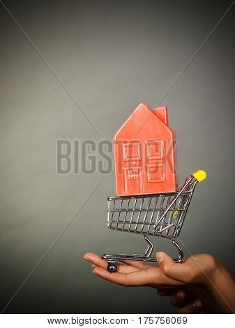 Woman Hand Holding Shopping Cart With House Inside
