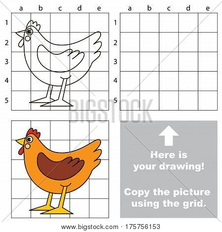 Copy the picture using grid lines, the simple educational game for preschool children education with easy gaming level, the kid drawing game with Brown Hen
