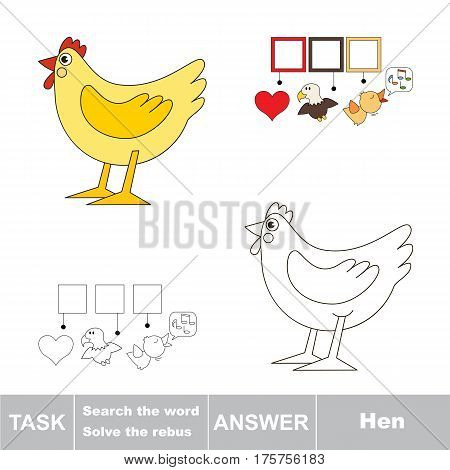 Educational puzzle game for kids. Find the hidden word Hen