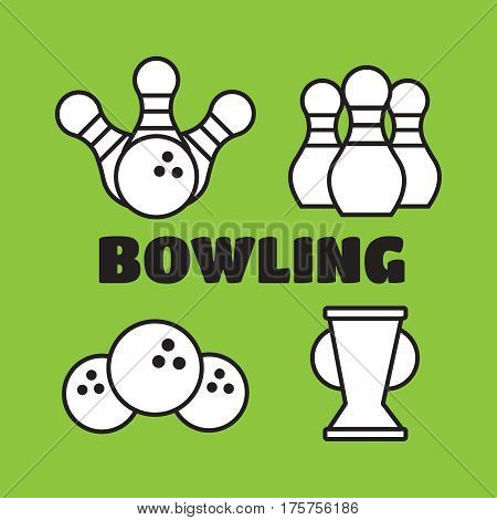 Bowling vector labels emblems and badges set. Bowling vector