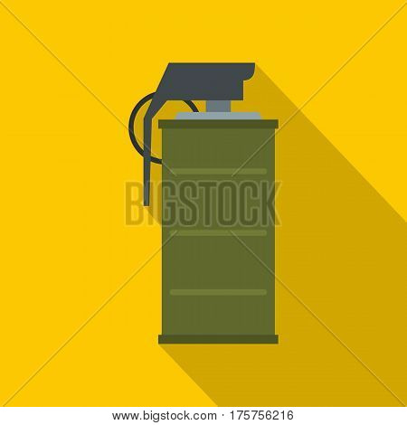 Smoke grenade icon. Flat illustration of smoke grenade vector icon for web isolated on yellow background