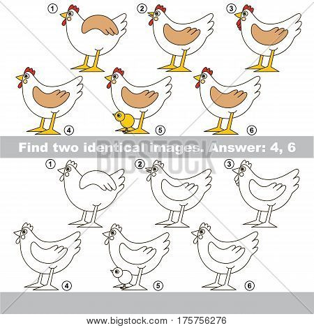 The educational kid matching game for preschool kids with easy gaming level, he task is to find similar objects, to compare items and find two same Hens.