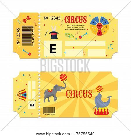 Tickets for circus performances. Vector flyer on a circus show. Two vintage entrance tickets templates set. Invitation coupon with elephant, seal, mask, balloon, monocycle, star, serpentine card pass