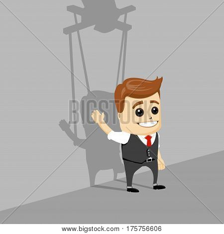 Puppet businessman. Businessman marionette on ropes controlled hand. Vector illustration.