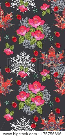 Autumn seamless pattern with ornamental maple leaves, snowflakes, bouquet of roses and raspberries on black background. Vector illustration. Print for fabric. Wrapping, packaging.