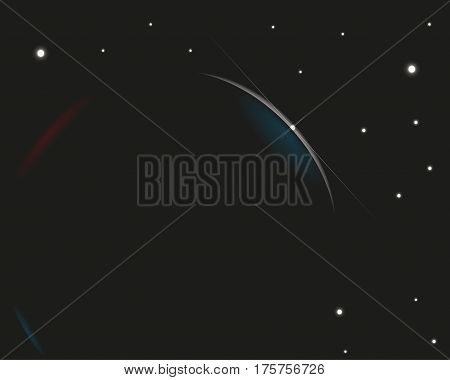 Rising star in space. Colored vector illustration.