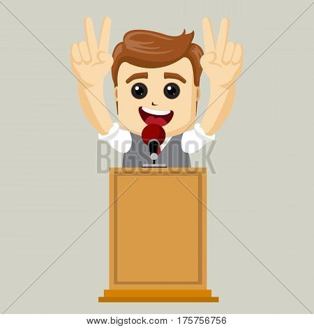 Businessman talking from the tribune. Happy business man. Business concept. Vector illustration.
