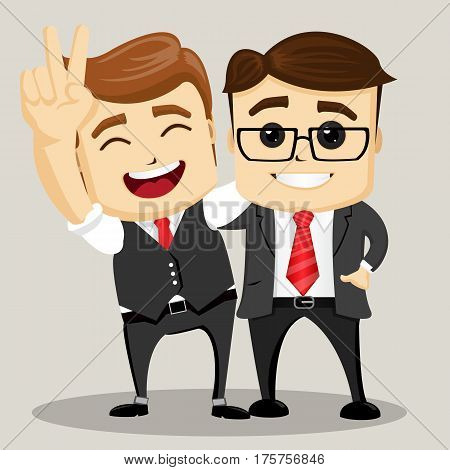 Businessman with hands up. Business Motivation Leadership. Happy Business man. Two business men.Vector illustration.