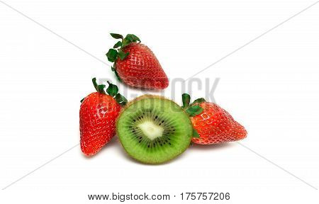 strawberries and kiwi on a white background. horizontal photo.