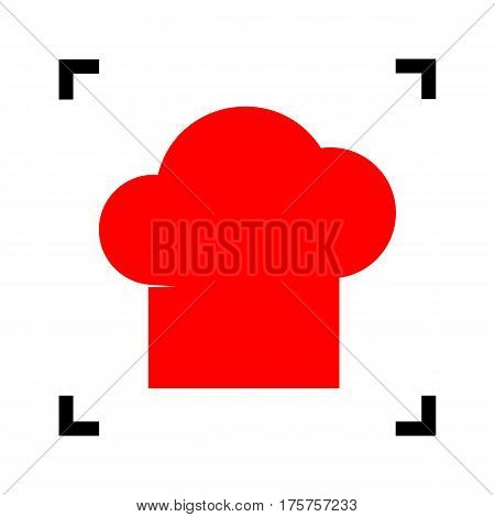 Chef cap sign. Vector. Red icon inside black focus corners on white background. Isolated.