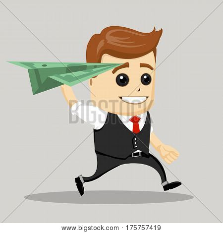 Happy businessman launch a dollar plane. Business Motivation Leadership. Vector illustration.
