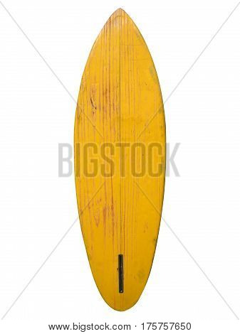 Vintage surfboard yellow color isolated on white - Retro styles 60's