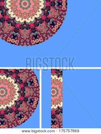 Set of business cards with fragment of mandala on blue background. vector illustration.