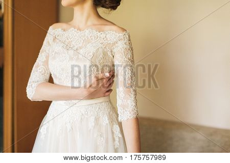 the elegant bride in a wedding lacy dress. morning gatherings of bride.
