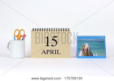 15 April Calendar With White Background and Office.