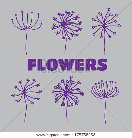 Dandelion flower icons. Dandelions fluffy seeds vector silhouettes vector