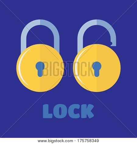 Locked and unlocked padlock. Vector lock icon