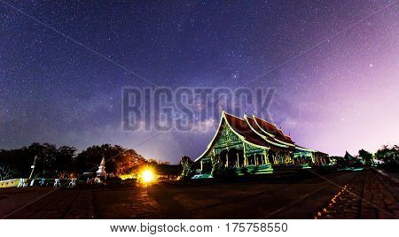 Milky way at the Thai church / milky way on the sky