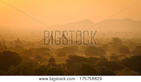 Landscape Of Bagan Temples In The Sunrise