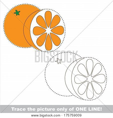 Orange to be traced only of one line, the tracing educational game to preschool kids with easy game level, the colorful and colorless version.