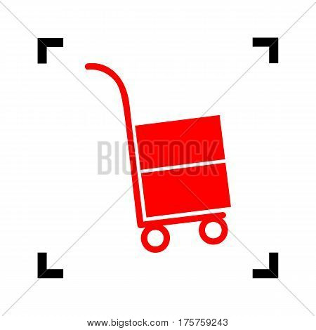 Hand truck sign. Vector. Red icon inside black focus corners on white background. Isolated.