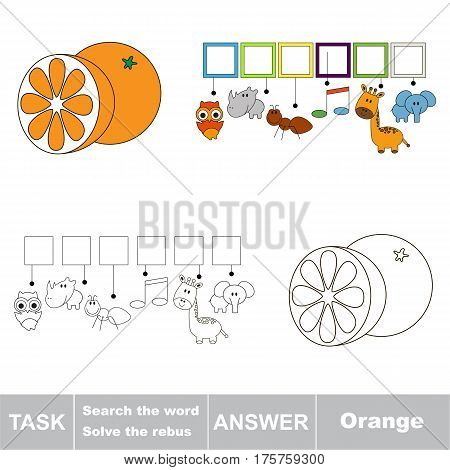 Educational puzzle game for kids. Find the hidden word Orange