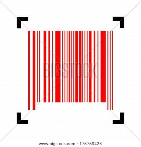 Bar code sign. Vector. Red icon inside black focus corners on white background. Isolated.