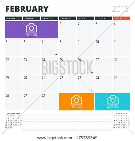 Calendar Planner For February 2018. Print Design Template. Week Starts On Monday. Vector Illustratio