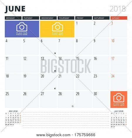 Calendar Planner For June 2018. Print Design Template. Week Starts On Monday. Vector Illustration. S