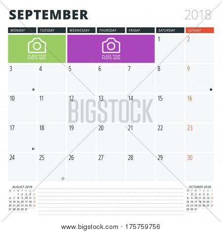 Calendar Planner For September 2018. Print Design Template. Week Starts On Monday. Vector Illustrati