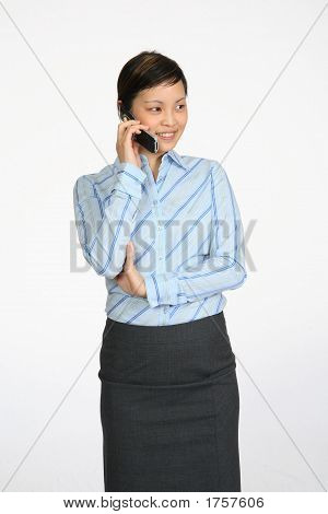 Asian Business Woman Talking On Cell Phone