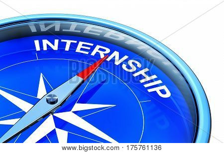 3D rendering of a compass with a internship icon