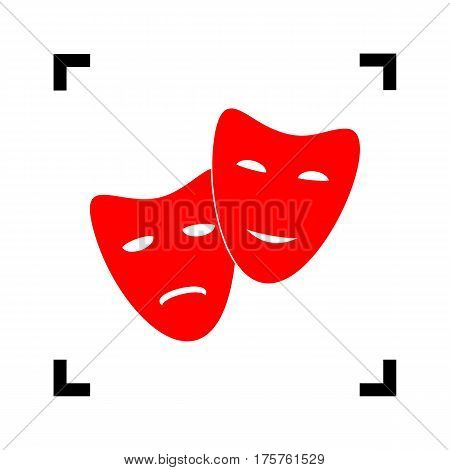 Theater icon with happy and sad masks. Vector. Red icon inside black focus corners on white background. Isolated.