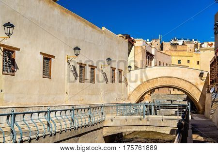 Oued Bou Khrareb, a river in the center of Fes - Morocco poster