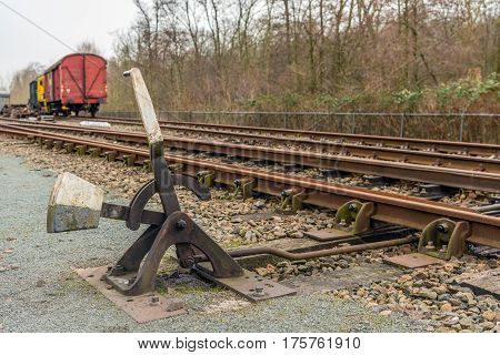 Old hand-operated lever of a railroad switch in the Netherlands.