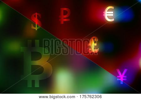 Vector illustration of a currency exchange concept with dollar, yen, pound, ruble, euro symbols on a divided green and red background.