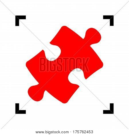 Puzzle piece sign. Vector. Red icon inside black focus corners on white background. Isolated.